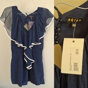 Nwt Akiko japan silk butterfly flowy romantic top
